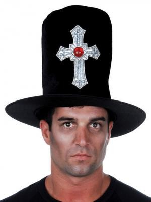 BLACK-VELVET-STOVE-PIPE-TOP-HAT-WITH-CROSS-AND-JEWEL-GOTH-VAMPIRE-COSTUME