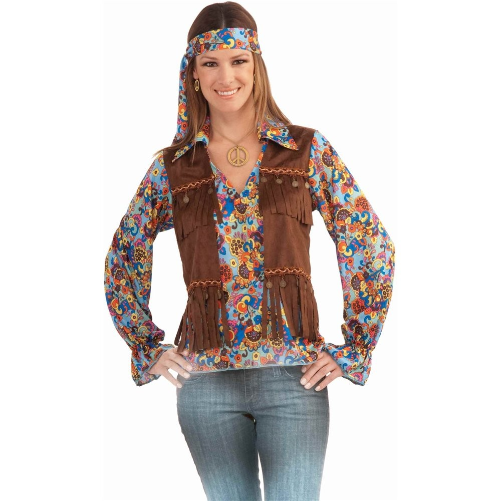 Funky 60 S 70 S Hippie Multicoloured Shirt Vest And Headband Ladies Costume New Ebay