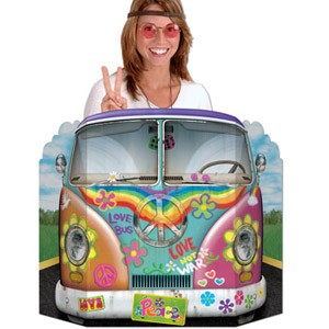 Groovy hippie flower power combi van 60 39 s 70 39 s photo prop for 60s party decoration