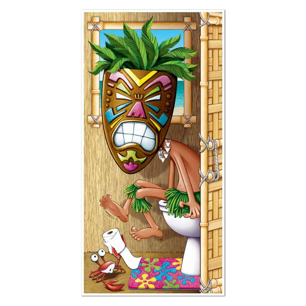 Hawaiian luau tikki man restroom toilet door cover party for Tiki decorations home