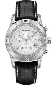 tourneau s silver chronograph black leather