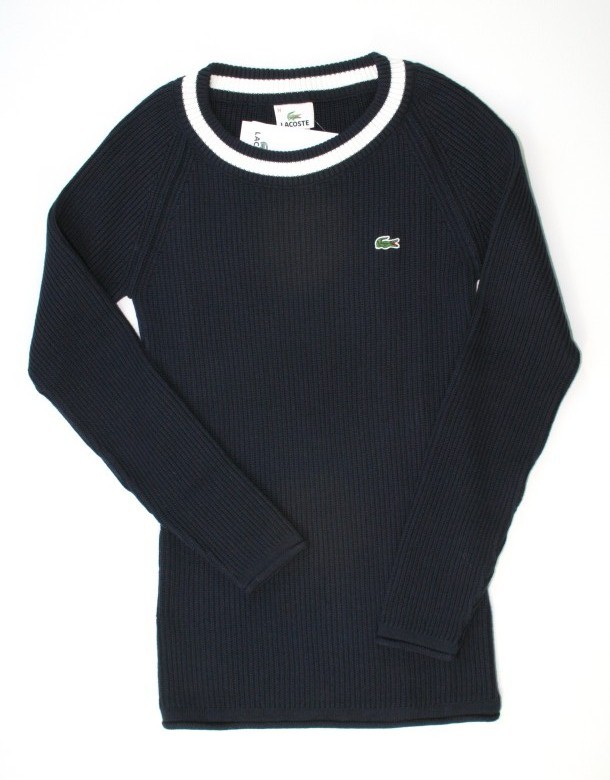 neu original lacoste damen strick pullover 2 32 xs d 39 blau. Black Bedroom Furniture Sets. Home Design Ideas