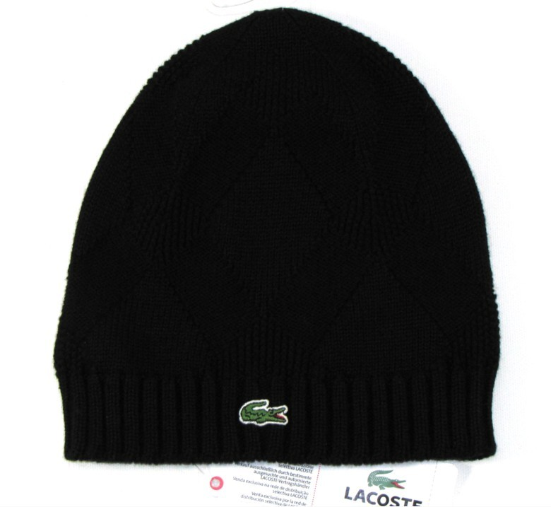 neu original lacoste damen beanie m tze cap schwarz croc. Black Bedroom Furniture Sets. Home Design Ideas