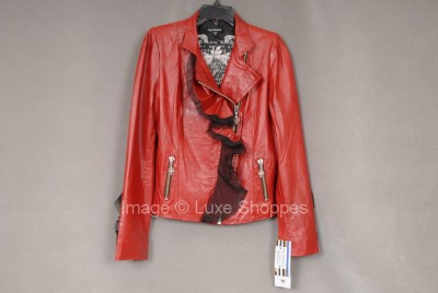 Royal Underground By Nikki Sixx Red Leather Motorcycle Jacket 895 Retail