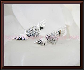 925 Sterling Silver Angel Wings Heart Stud Earrings
