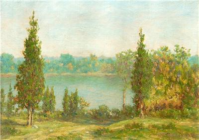 GORGEOUS SILAS DUSTIN ANTIQUE AMERICAN IMPRESSIONIST PAINTING