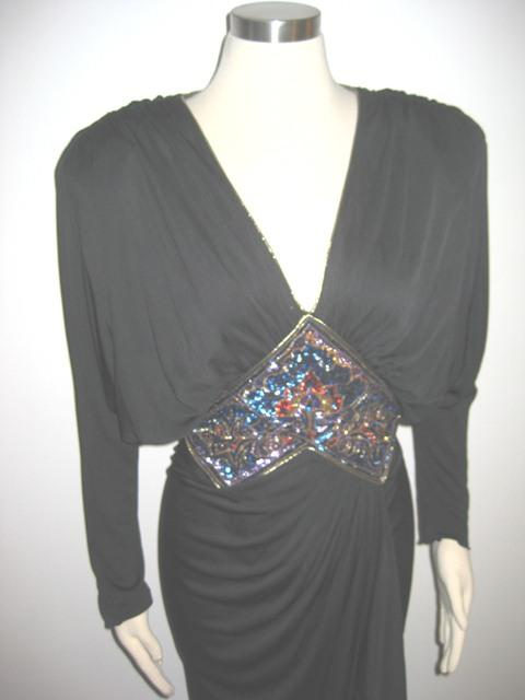 VTG-70s-80s-APROPOS-Dress-SEXY-Ruched-GODDESS-Sequins