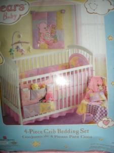 NIP Pink Love A Lot Care Bears Baby 4 Piece Crib Bedding Sheet Blanket