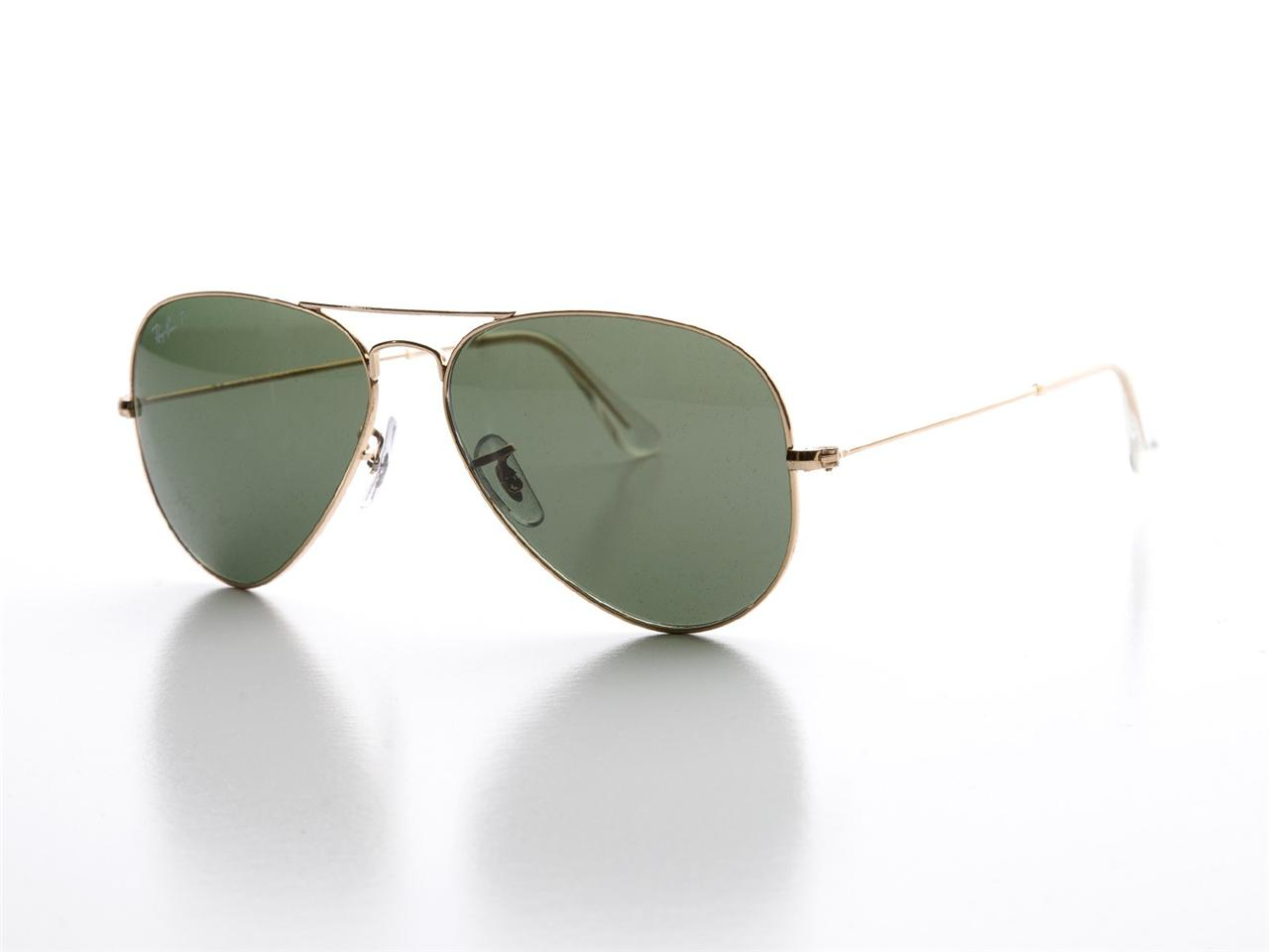 RAY BAN AVIATOR SUNGLASSES RB 3025 001 58 58MM GOLD WHITE ...