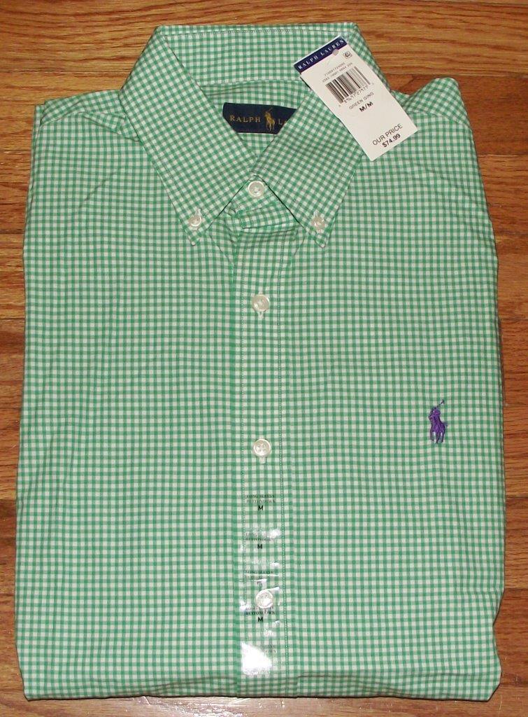 Nwt polo ralph lauren mens buttondown dress shirt gingham for Men s red gingham dress shirt