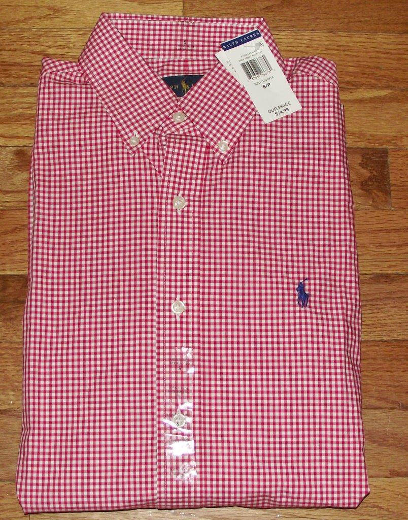 Nwt polo ralph lauren mens buttondown dress shirt gingham for Red and green checked shirt