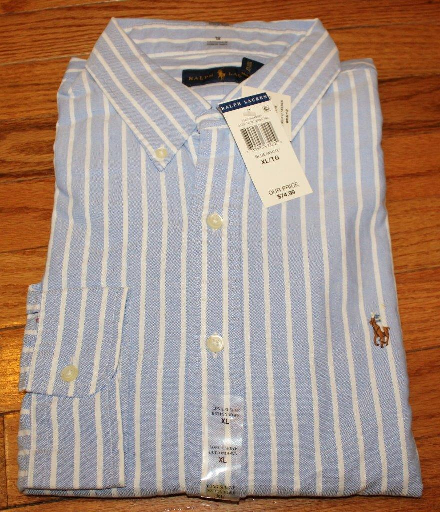 Nwt polo ralph lauren mens long sleeve button down oxford for Oxford long sleeve button down shirt