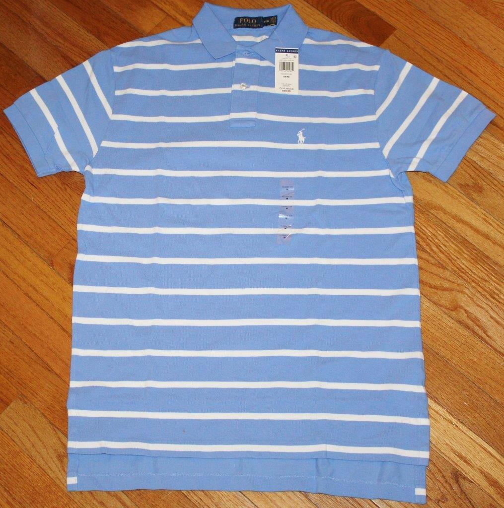 Nwt mens polo ralph lauren classic fit striped polo shirt for Blue striped shirt mens