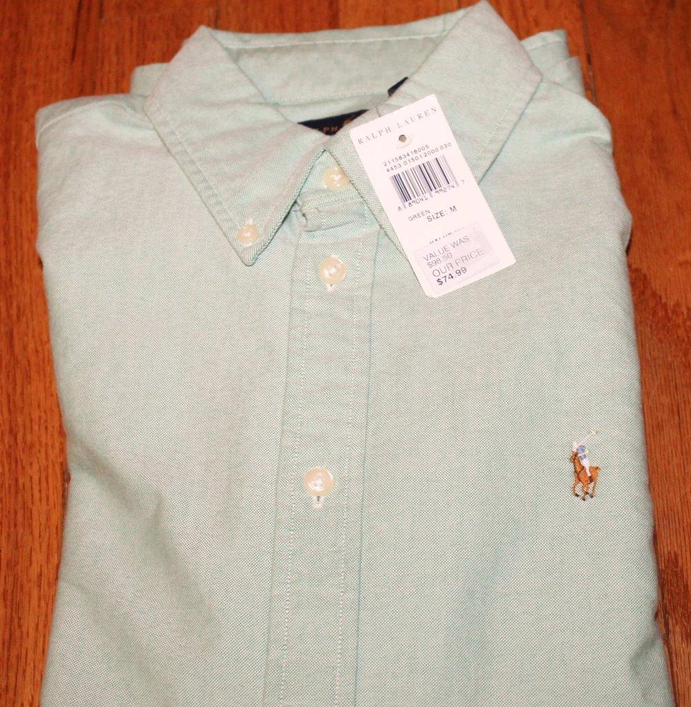 New Polo Ralph Lauren Womens L S Button Down Oxford Dress