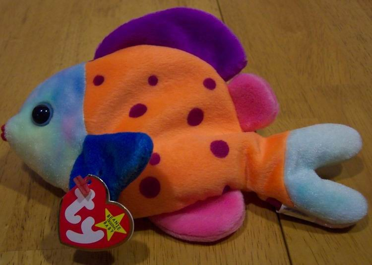 Ty beanie baby lips the fish plush stuffed animal new ad for Fish stuffed animal