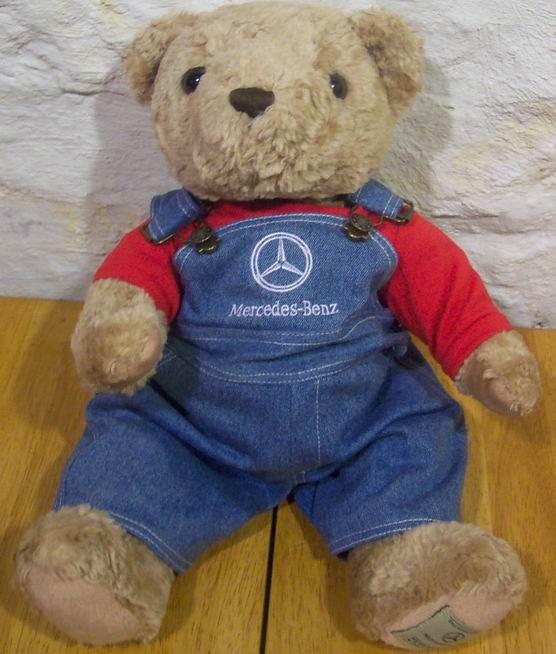 Herrington mercedes benz teddy bear in overalls plush ad for Mercedes benz bear