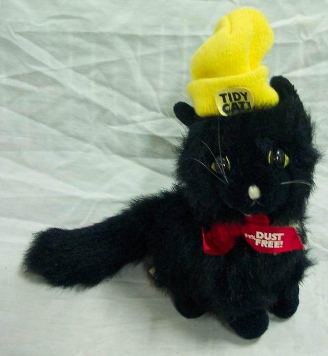 animal fair vintage tidy cat black cat w hat 10 plush stuffed animal toy ebay. Black Bedroom Furniture Sets. Home Design Ideas