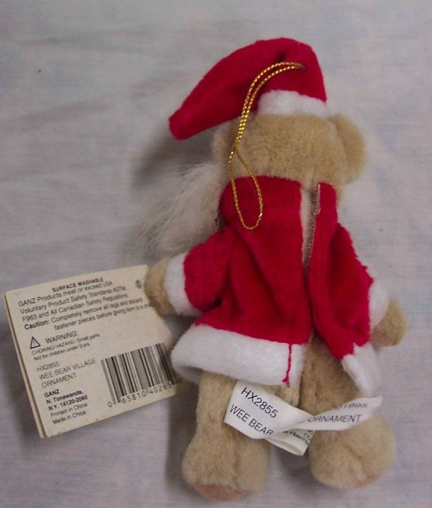 Ganz Wee Bear Village Santa Teddy Bear Ornament 5 Plush Stuffed