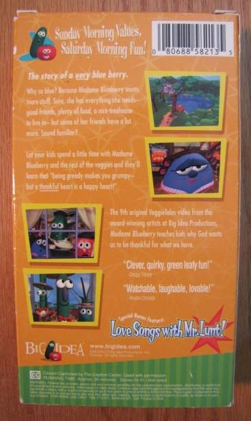 About veggie tales madame blueberry a lesson in thankfulness vhs video