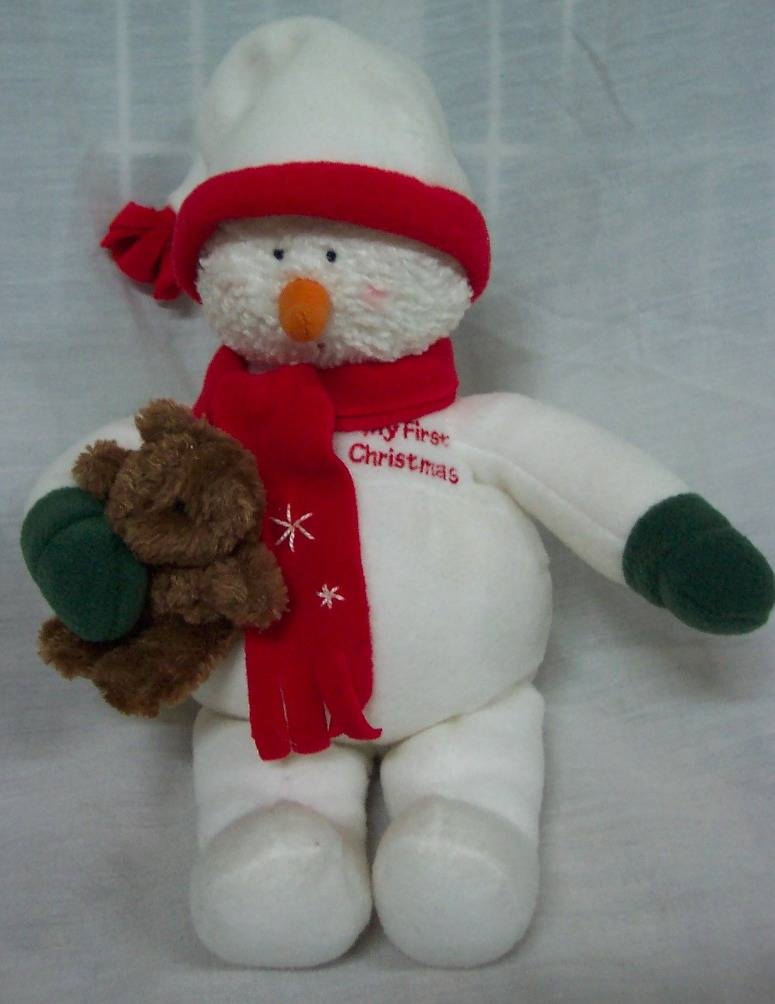Baby gund my first christmas baby snowman w teddy ad for Christmas pictures of baby animals