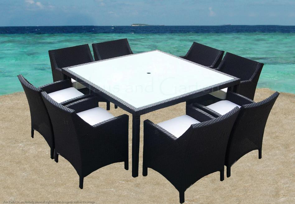 9P SQUARE OUTDOOR WICKER DINING SET PATIO FURNITURE CVS