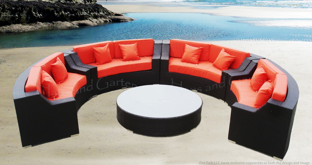 details about round outdoor wicker sectional sofa patio furniture set