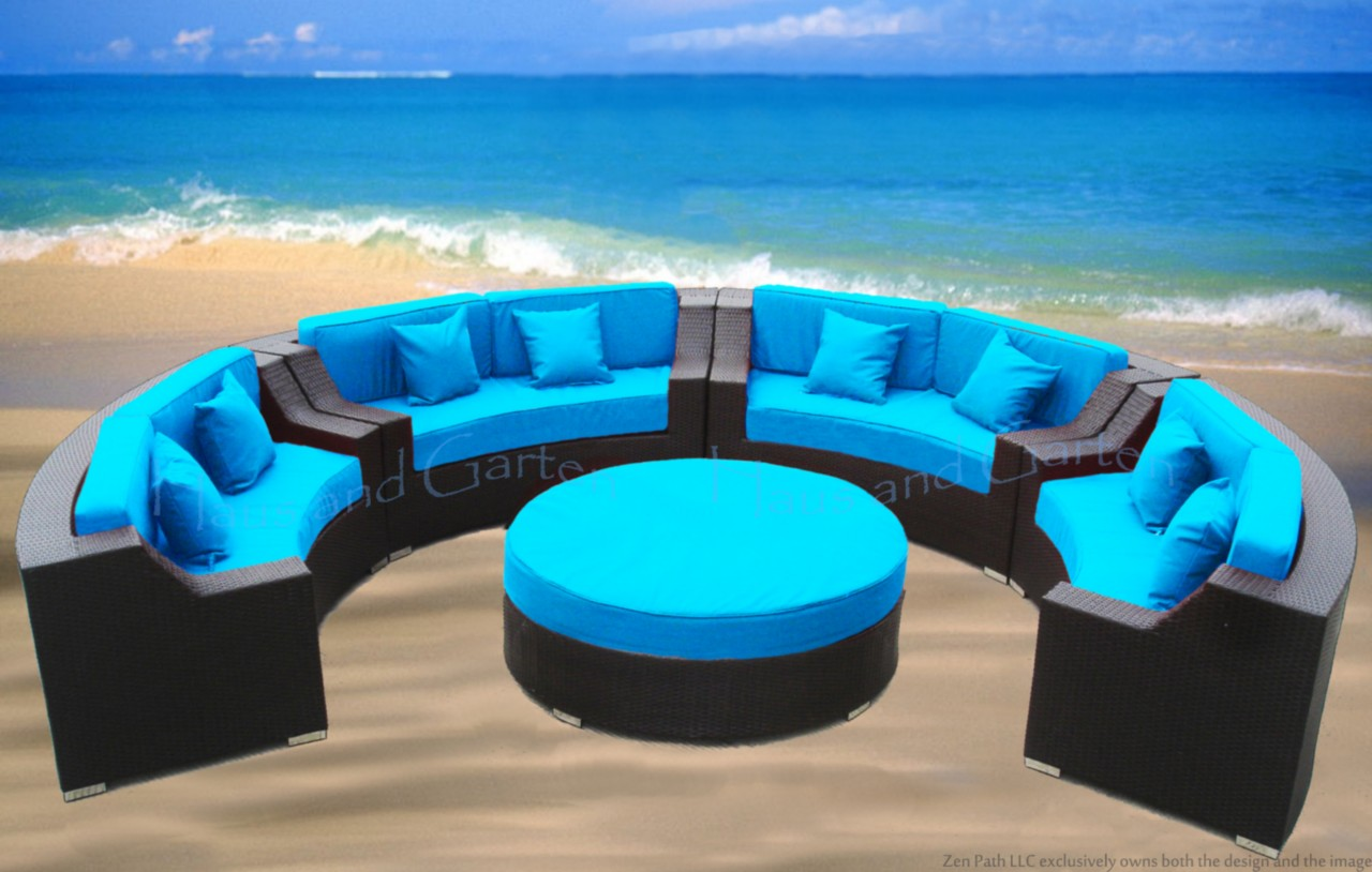 Round Outdoor Wicker Sectional Sofa Patio Furniture Cpr
