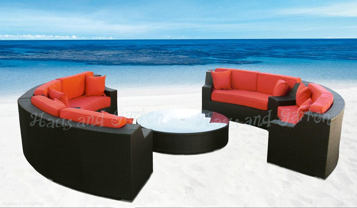 Round Outdoor Wicker Sectional Sofa Patio Furniture Set Ebay