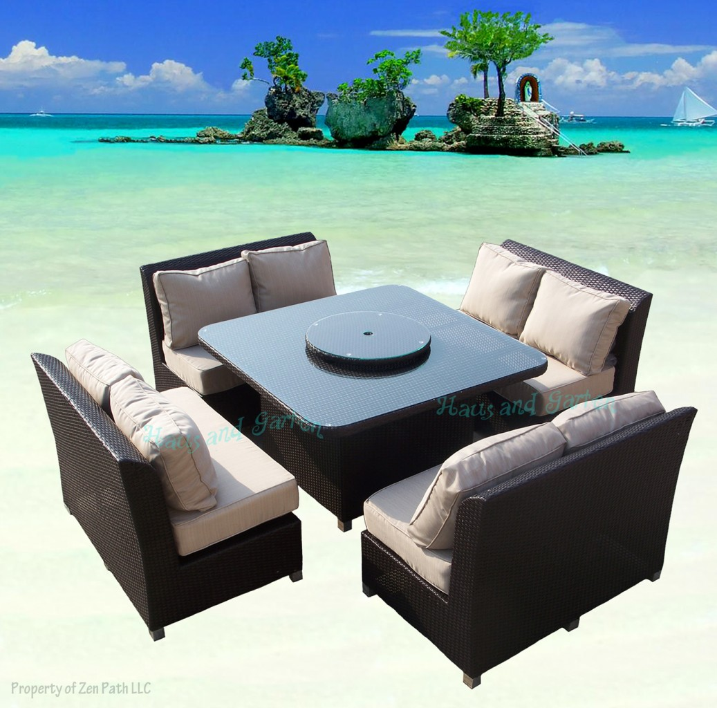 COASTAL OUTDOOR WICKER SOFA DINING SET PATIO FURNITURE