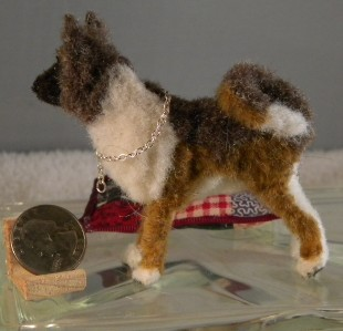 -Street Ooak Handmade Faux-fur miniature AKITA collectible mini dog