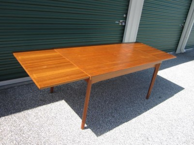 MODERN TEAK HIDEAWAY LEAVES EXTENSION DINING TABLE MID CENTURY EBay