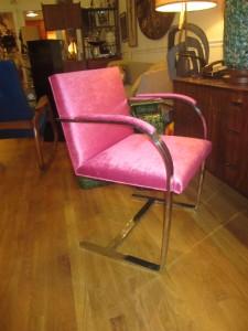 Gorgeous Vintage Mod Knoll Brno Chrome Chair Kravet Hot