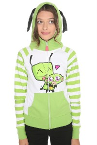 Details about InVaDeR ZiM ~I Heart Gir Monkey Hoodie Ears S Small NWT
