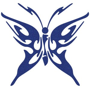 METALLIC-GLITTER-BUTTERFLY-CAR-STICKER-Blue-New-Sm-B