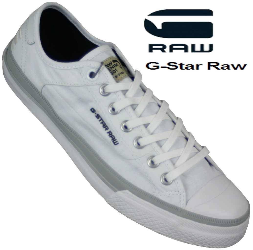 NEW-MENS-G-STAR-RAW-CAMPUS-WHITE-CANVAS-LACE-UP-TRAINER