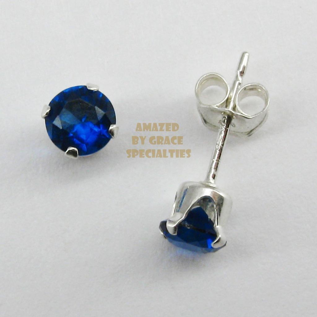 4mm gemstone earrings in sterling silver 925