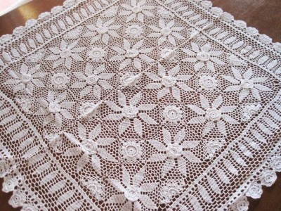 Free Crochet Patterns Round Table Toppers : Skilful 3D Flower Hand Crochet Fine Yarn Table Topper ...