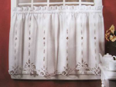 Elegant Pair Of Hand Battenburg Lace Beige Cotton Curtains
