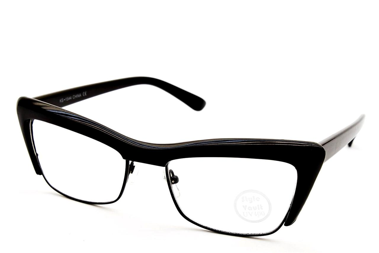 E427 CATEYE CAT EYE SEMI RIMLESS METAL VINTAGE EYEGLASSES ...