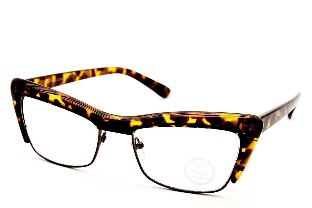 Rimless Cat Eye Glasses : E427 CATEYE CAT EYE SEMI RIMLESS METAL VINTAGE EYEGLASSES ...
