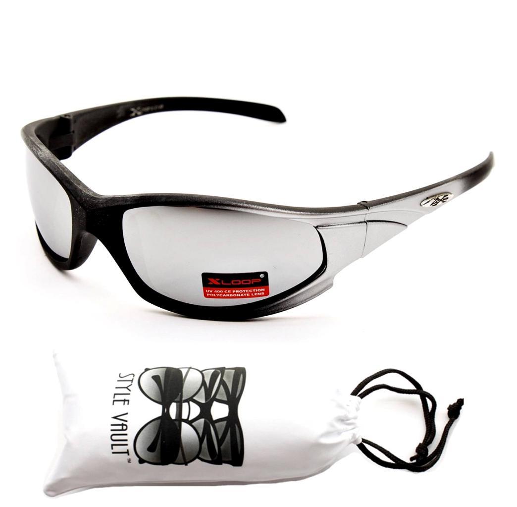 8X2138-VP XLOOP SPORT CYCLING RUNNING BASEBALL GOLF WRAP MENS Sunglasses +Pouch