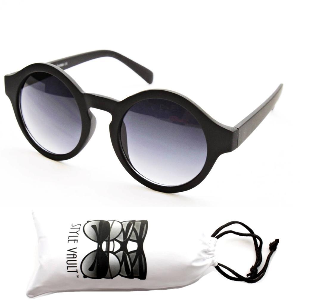 W83-VP (1419) Round Circle 80s Vintage Nerd Fashion Celebrity Sunglasses +Pouch