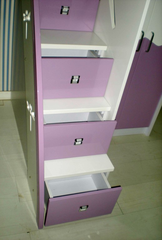 Pink kids loft bunk bed desk wardrobe 5 drawer stairs - Bunk bed with drawer steps ...