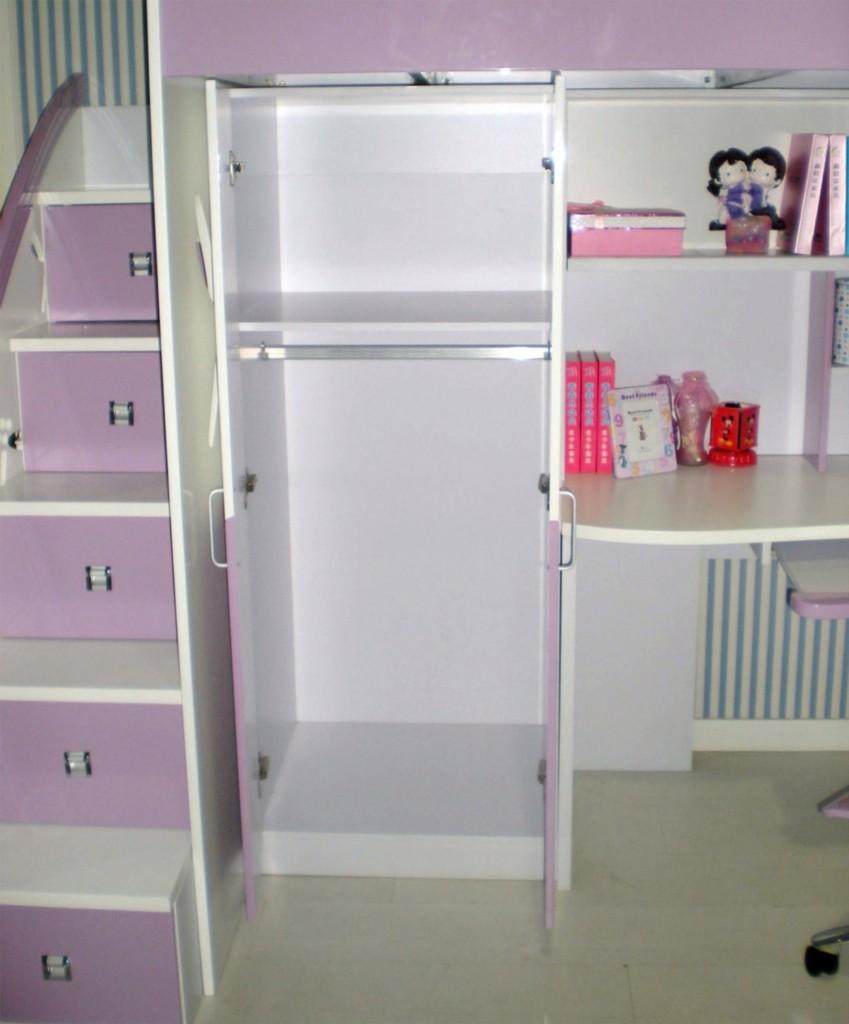 Pink kids loft bunk bed desk wardrobe 5 drawer stairs - Loft bed with drawer stairs ...