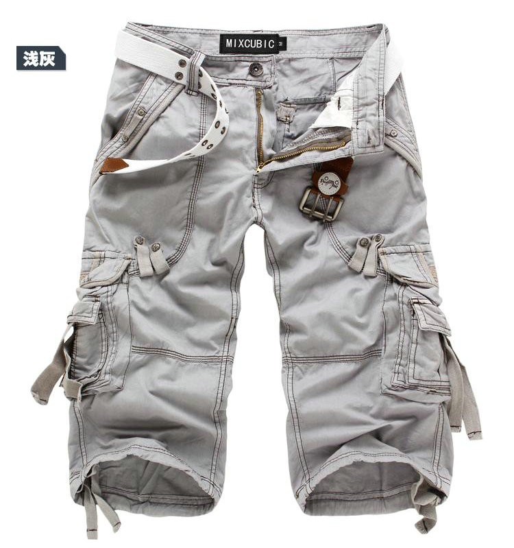 mens casual capri shorts cargo pants multi pocket army