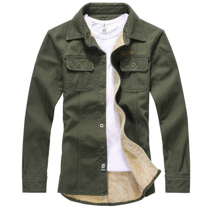 Mens Casual Military Style Sherpa Lined Thicken Winter Denim Shirt