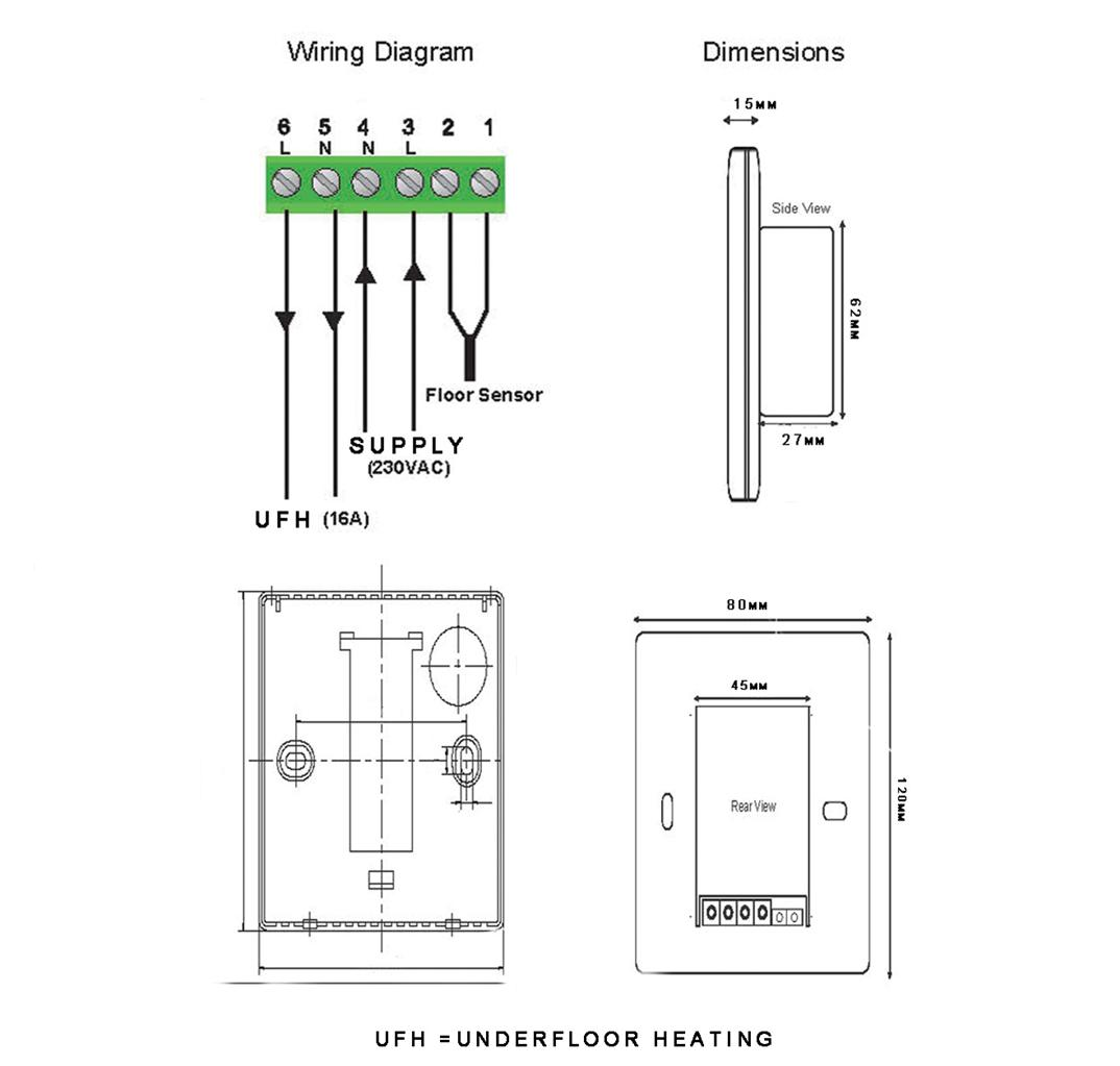 touch screen underfloor heating thermostat  u0026floor probe