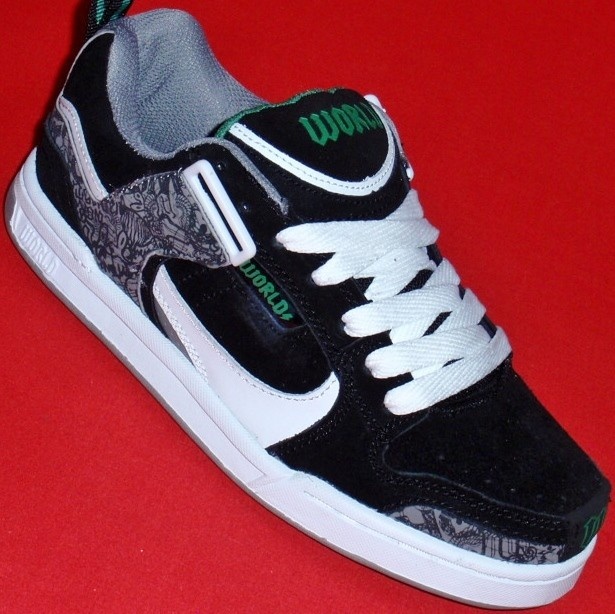 NEW-Men-039-s-Black-WORLD-INDUSTRIES-MILITIA-Leather-Athletic-Sneakers-Skate-Shoes