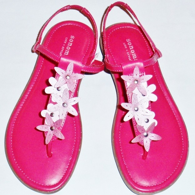 NEW-Girl-039-s-Youth-SONOMA-TALIA-Fuschia-Pink-Flowers-Thongs-Fashion-Sandals-Shoes