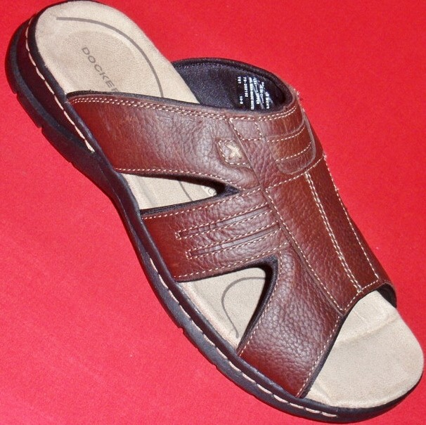 NEW-Mens-DOCKERS-Brown-Leather-Casual-Athletic-Slip-On-Slides-Sandals-Shoes